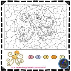 floral design color by number coloring pages for adults Free Thanksgiving Printables, Free Printables, Octopus, Printable Pictures, First Grade Reading, Adult Coloring Pages, Floral Design, Design Color, Numbers