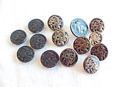 Vintage Buttons & Studs Set - Indian Head Buffalo Nickel design - Metal Faux Coin Picture Button - Golden Brassy Hollow - Westen Cowboy - 14 by IrrenaysTreasures on Etsy
