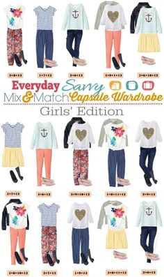 Spring Mix and Match Outfits for girls. Mix and match for 15 fun outfits.