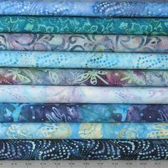9 Blue, Green & Purple Batik Fat Quarters Plus Charm Pack Fabric Bundle, Coastal Chic Batiks Collection by Maywood Studio Star Quilt Patterns, Traditional Quilts, Quilting Tutorials, Sewing Tutorials, Charm Pack, Quilt Kits, Sewing Projects For Beginners, Floral Fabric, Blue Green