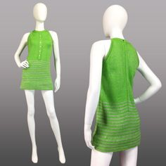 VINTAGE-60s-70s-Green-Silver-Striped-KNIT-MINIDRESS-Mod-Hipster-SPRING-SZ-XS-S