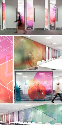 Office Graphics around the office. [office design + agency culture] Your Mattress – No Piece Of Furn Graphisches Design, Glass Design, Wall Design, Deco Design, Office Graphics, Window Graphics, Environmental Graphic Design, Environmental Graphics, Commercial Interior Design