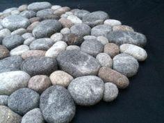 Felt stone rug wool super soft 3D with soft core