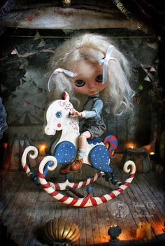 Antique Rocking horse ~ Circus ~ B&W   Rebeca Cano ~ Cookie dolls www.cookie-dolls.com © All rights reserved