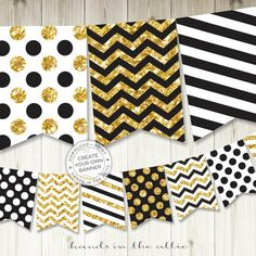 Paper Lanterns Party, Gold Party Decorations, Happy Birthday Banner Printable, Printable Banner, Printables, Gold Polka Dots, Gold Stripes, Glitter Party, Gold Glitter
