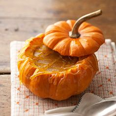 Pumpkin Spice Creme Brulee: Preheat oven to 350 degrees F. In a small saucepan, heat whipping cream over medium heat just until bubbly. Remove from heat; set aside.