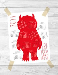 Printable Wild Things calendar on Etsy. Love!