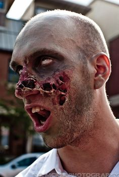 Awesome Zombie makeup for Halloween. It's amazing what liquid latex and toilet paper can do