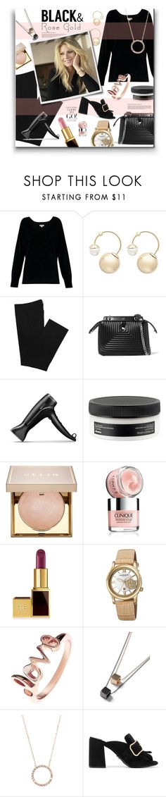 """Black & Rose Gold - Gwyneth Paltrow"" by watereverysunday ❤ liked on Polyvore featuring Whistles, Witchery, Zara, Fendi, GHD, Davines, Stila, Clinique, Tom Ford and Akribos XXIV"