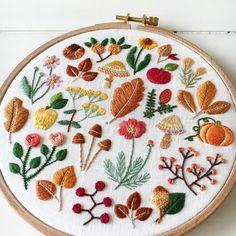 """Autumn Pallet 6"""" hoop on linen. 良い一週間を✨ #miniatureembroidery"""