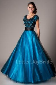 Modest Prom Dresses : Blake -Modest Mormon LDS Prom Dress