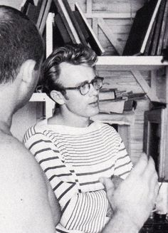 James Dean's glasses and striped sweater are such a timeless look!