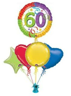 """Make some ones birthday even more special with this birthday balloon """"Party Streamers"""" Wonderful birthday balloons from the Balloon Kings. Helium filled birthday balloons in a box . 60th Birthday Balloons, Happy 50th Birthday, Send Balloons, Balloon Painting, Party Streamers, Birthday Bouquet, Balloon Gift, Balloon Bouquet, Spinning"""