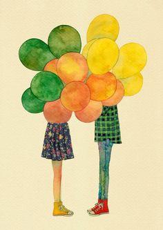 다섯시 by THE NEW ART AGENCY balloons couple art illustration colorful colourful sweet love chuck taylor converse