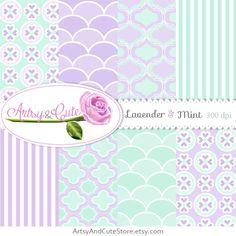 Mint Green Digital Paper Pastel Lavender by ArtsyAndCuteStore  #digital #paper #mint #lilac #purple #sweet #pastel #printable