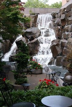 Waterfall Garden Park - Seattle - Ave Seattle - Another! Backyard Water Feature, Ponds Backyard, Backyard Landscaping, Backyard Waterfalls, Garden Waterfall, Waterfall Fountain, Landscape Design, Garden Design, Vacation Places