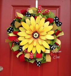 Sunflower summer wreath, red/white polka dots, black/white polka dots