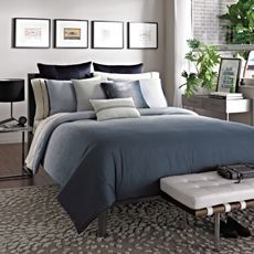 Kenneth Cole Reaction Home Hotel Ink Comforter, 100% Cotton - Bed Bath & Beyond.  Best one yet for you. Add a shag throw into this mix in black and hang black and white art canvas above the bed