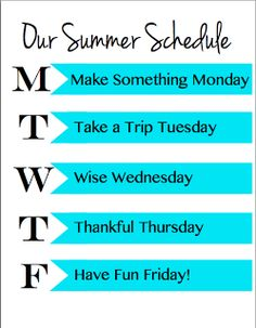 printable summer schedule to keep the kids busy (with lots of ideas for each day)
