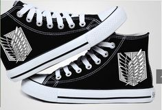 Attack on Titan converse. I love converse and attack on titan, so this are the best converse ever. Black Canvas Shoes, Mens Canvas Shoes, Canvas Sneakers, Black Shoes, Attack On Titan, Casual Cosplay, One Piece Anime, Otaku, Anime Outfits
