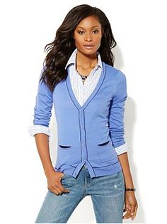 Contrast-Stitched Cardigan from New York & Company