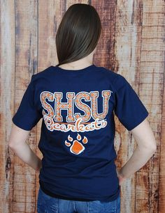 Show your SHSU pride with this adorable navy t-shirt. It's perfect for any Sam Houston fan.