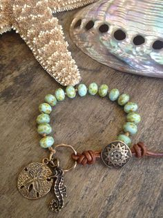 Sea Horse & Sand Dollar Hand Knotted Bracelet, Surfer Girl Jewelry