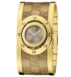 Gucci Women's YA112434 Twirl Gold Guccissima Leather Bangle Watch Gucci. $1050.00. snapped caseback. Swiss Made Ronda Quartz Movement. yellow gold PVD bangle. brown sun-brushed dial. yellow gold PVD case