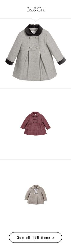 """Bs.&Cn."" by duchessq ❤ liked on Polyvore featuring baby, outerwear, coats, brown coat, baby coats, kids, baby girl, chevron twill, blue swing coat and blue coat"