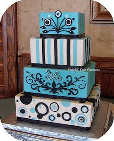 Aqua Blue, Black and White Retro Wedding Cake - Wedding Cake Bliss