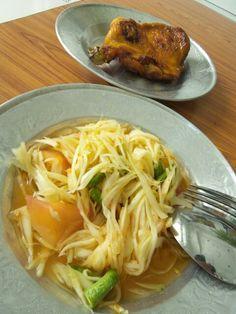 Papaya slad #Somtam chicken grill