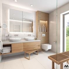 white tile in guest bathrooms upstairs H- white sinks sunk in to counter. BE… white tile in guest bathrooms upstairs H- white sinks sunk in to counter. Guest Bathrooms, Bathroom Spa, Wood Bathroom, White Bathroom, Modern Bathroom, Bathroom Cabinets, Bathroom Storage, Bathroom Ideas, Cabinet Storage