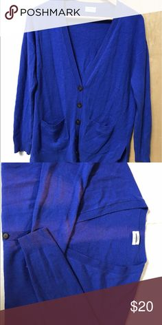 Oversized royal blue wool cardigan. Soft wool cardigan, relaxed fit with pockets. Label says Wallace but I believe this is from J Crew. J. Crew Sweaters Cardigans