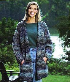 "Free Crochet Pattern: Flattering Jacket SKILL LEVEL: Intermediate SIZE: Medium, Large, 1X, M (L, 1X) Finished chest: 46 (50, 54)"" Homespun 7(8,8) skeins, K hook"