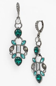 Beautiful, emerald drop earrings