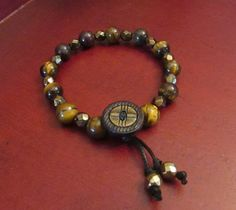 Vintage Button Beaded Bracelet by VintageMirageJewelry on Etsy