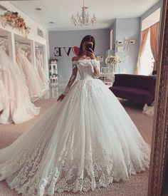 Ball Gown Wedding Dress Long Sleeve Lace Wedding Bridal Gowns sold by Wedding store. Shop more products from Wedding store on Storenvy, the home of independent small businesses all over the world. Cute Wedding Dress, Long Wedding Dresses, Princess Wedding Dresses, Modest Wedding, Casual Wedding, Most Beautiful Wedding Dresses, Floral Wedding, Backless Wedding, Lace Bridal Gowns