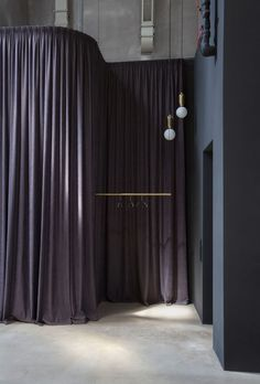 Alexander Volkov Architects have created a sales office for luxury residential complex ARTKVARTAL set in a double volume Moscow penthouse. Blue Velvet Curtains, Curtain Divider, Sales Office, Lighting Concepts, Box Houses, Minimalist Furniture, Textiles, Office Interiors, Retail Design
