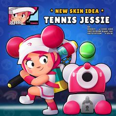 Tennis Jessie - Rate this skin idea in the comments . Clash Royale, Clash Of Clans, Star Character, Character Design, Star Comics, Star Wallpaper, Cartoon Games, Star Art, Marvel Funny