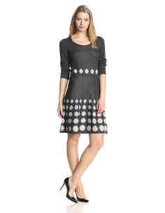 Three-Quarter Sleeve Scoop-Neck Fit-and-Flare  Sweater Dress by Nine West