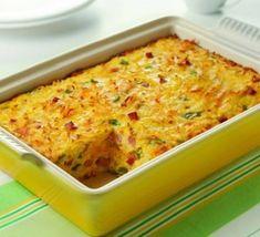 Omelete de forno com presunto e queijo