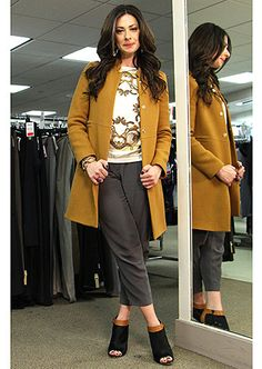 Yellow coat by J Crew, Grey pants by Club Monaco, Printed Blouse by Maje