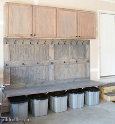 Garage Mudroom- a DIY. Organize that garage space! Garage Mudroom- a DIY. Organize that garage space! Mud Room Garage, Garage Shed, Garage Workshop, Garage Doors, Small Garage, Garage Bench, Garage Entryway, Garage Office, Garage Walls