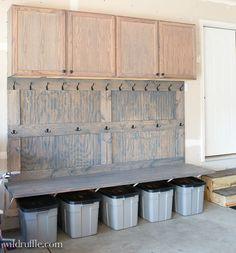 Garage Mudroom- a DIY. Organize that garage space!