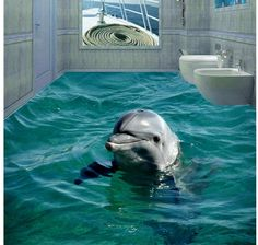 3d sea beach floor dolphin 3D wall murals wallpaper floor  Waterproof floor mural painting 3d floor for mural