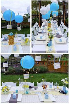 Sky themed backyard baby shower designed and planned by kaileymichelle.com   #yellow #blue #grey #owl #hotairballoon