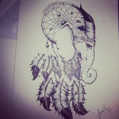 elephant dream catcher tattoo idea Girls name in it Atrapasueños Tattoo, Kopf Tattoo, Tattoo Drawings, Yakuza Tattoo, Future Tattoos, Love Tattoos, Body Art Tattoos, Crow Tattoos, Phoenix Tattoos