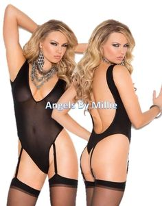 Black Bodysuit Teddy Lingerie Women Deep V Opaque Sheer Low Back Thong Stockings #ElegantMoments
