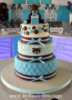Baby Shower teddy bear cake ~ bolo ursinho cha de bebe by Kyllasweets, via Flickr