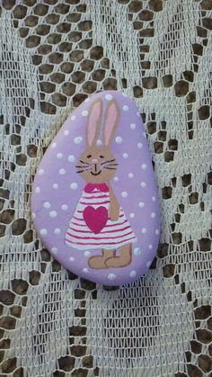 Little bunny, painted on a Lake Huron beach stone by Cindy P 2018.